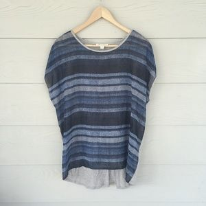 Two by Vince Camuto Navy Blue Sheer Striped Top